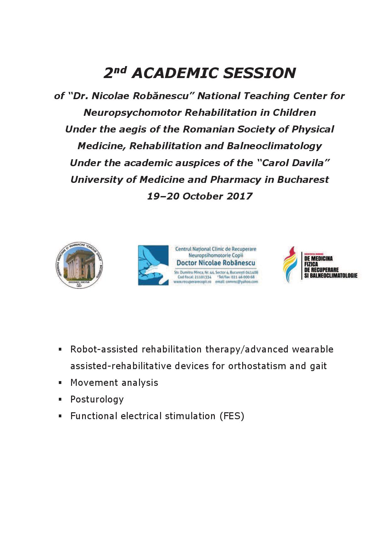 ADVANCED NEUROREHABILITATION PROCEDURES - 2nd ACADEMIC SESSION 19-20 October 2017, Bucharest pg1/5
