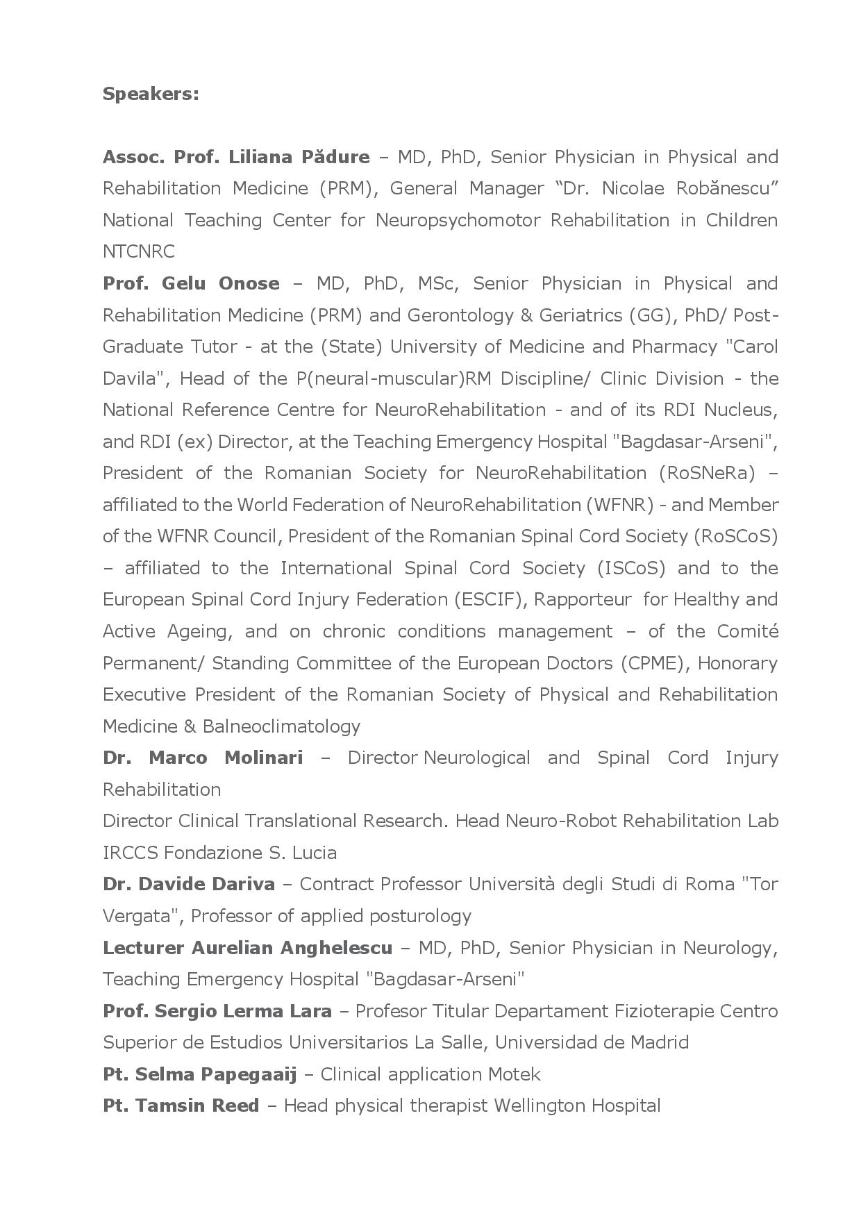 ADVANCED NEUROREHABILITATION PROCEDURES - 2nd ACADEMIC SESSION 19-20 October 2017, Bucharest pg4/5