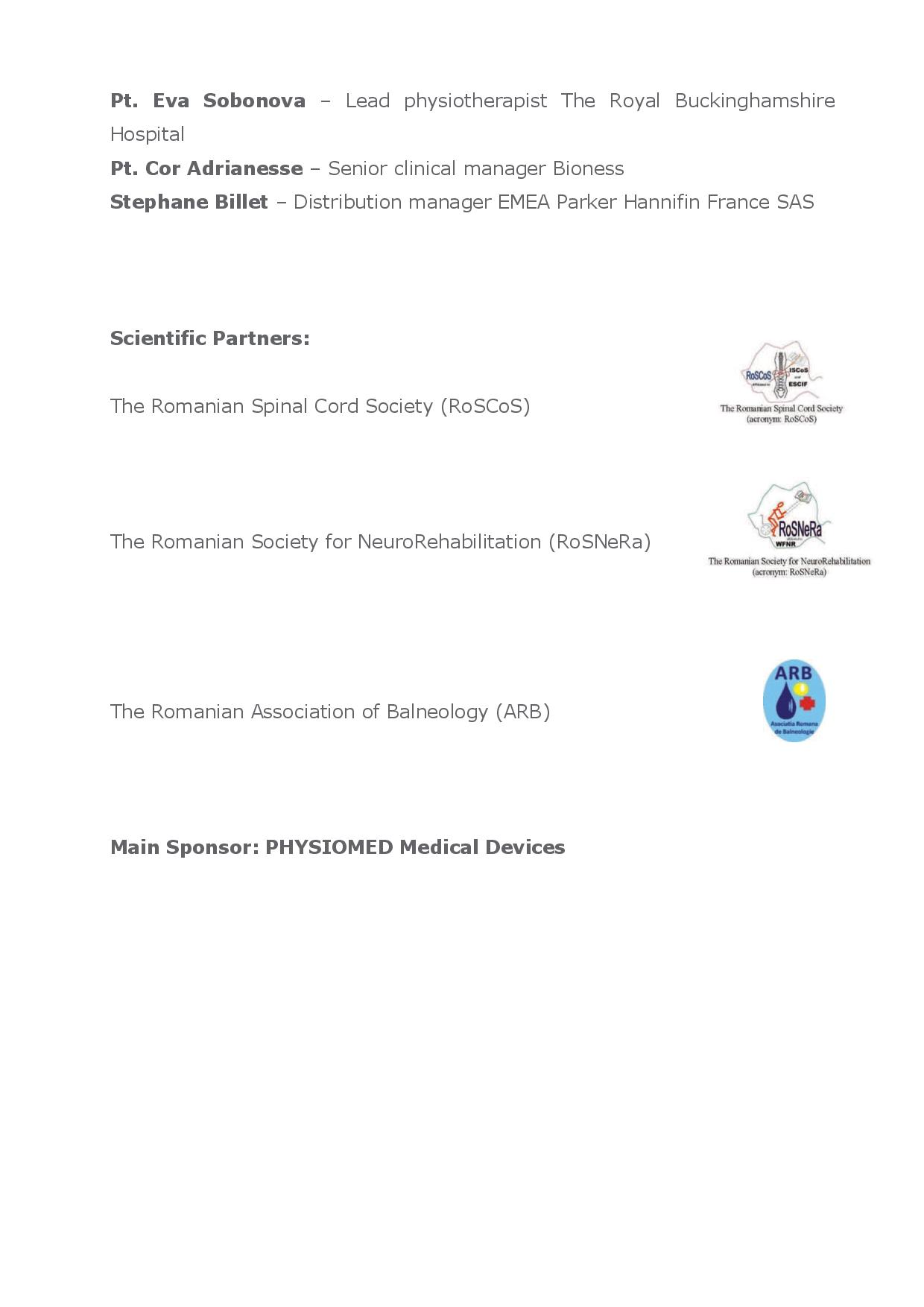 ADVANCED NEUROREHABILITATION PROCEDURES - 2nd ACADEMIC SESSION 19-20 October 2017, Bucharest pg5/5
