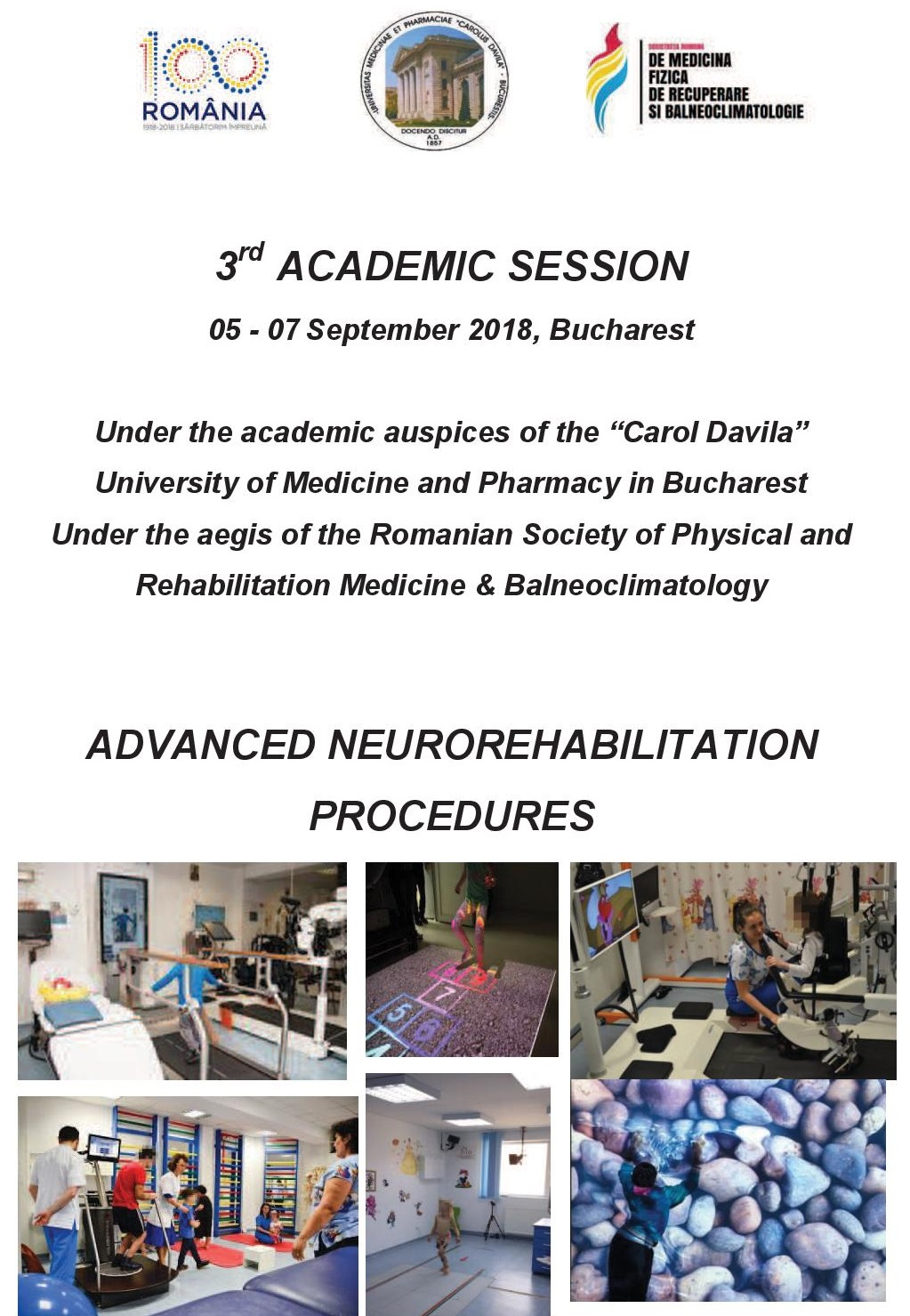ADVANCED NEUROREHABILITATION PROCEDURES - 3rd ACADEMIC SESSION 05-07 September 2018, Bucharest pg1/6