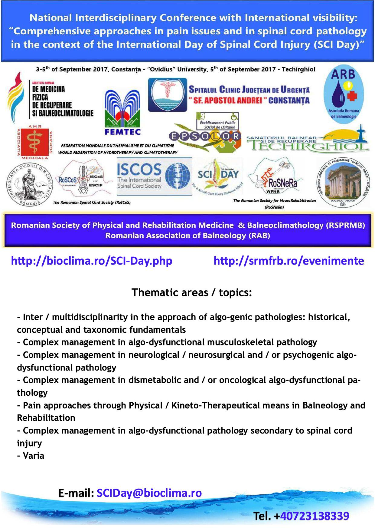 National Interdisciplinary Conference with International Visibility: 'Comprehensive approaches in pain issues and in spinal cord pathology in the context of the International Day of Spinal Cord Injury (SCI Day)'